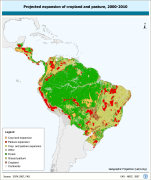 Projected expansion of cropland and pasture, 2000-2010
