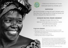 Winner of the 2014 Wangari Maathai Award to be announced Monday 6 October