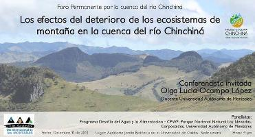 "Permanent Forum on ""Impacts on mountain ecosystems in the basin of river Chinchiná"